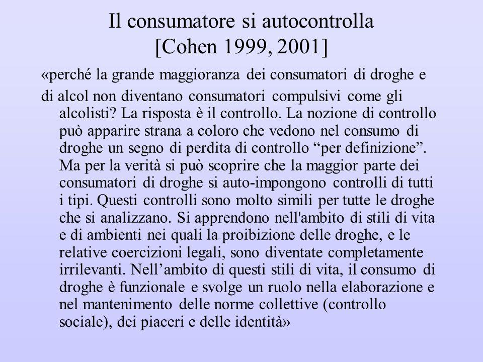 Il consumatore si autocontrolla [Cohen 1999, 2001]